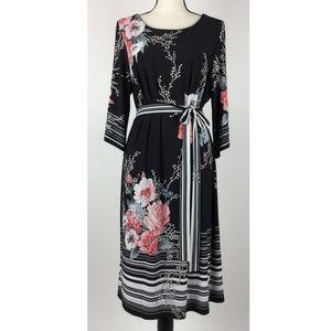 Sandra Darren Womens Dress 1X Floral Black C35-11P